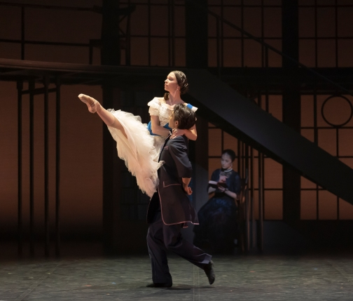 Abigail Prudames as Victoria with Riku Ito as Lord Melbourne in Victoria. Photo Emma Kauldhar (2)